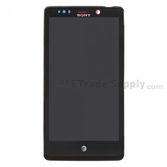 For Sony Xperia TL LT30AT LCD Screen and Digitizer Assembly with Front Housing Replacement - Black - With Logo - Grade S+