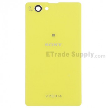 For Sony Xperia Z1 Compact Battery Door Replacement - Yellow - With Logo - Grade S+
