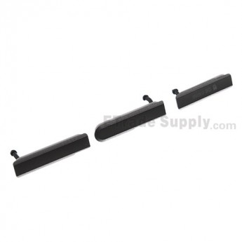 For Sony Xperia Z1 Compact Card Slot Cover and USB Cover Replacement (3 pcs/set) - Black - Grade S+