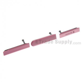For Sony Xperia Z1 Compact Card Slot Cover and USB Cover Replacement (3 pcs/set) - Pink - Grade S+