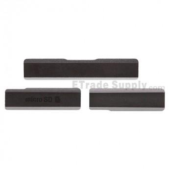 For Sony Xperia Z1 L39h SD Card Cap Set Replacement (3 pcs/set) - Black - Grade S+