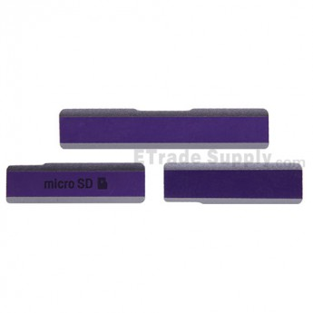 For Sony Xperia Z1 L39h SD Card Cap Set Replacement (3 pcs/set) - Purple - Grade S+