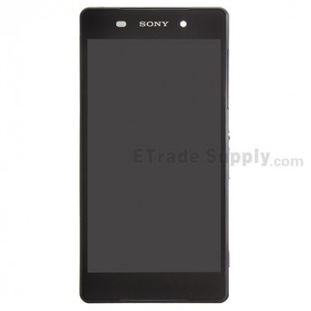For Sony Xperia Z2 LCD Screen and Digitizer Assembly with Front Housing Replacement - Black - With Logo - Grade S+