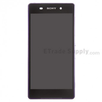 For Sony Xperia Z2 LCD Screen and Digitizer Assembly with Front Housing Replacement - Purple - With Logo - Grade S+