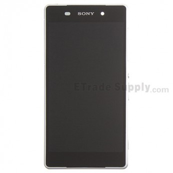 For Sony Xperia Z2 LCD Screen and Digitizer Assembly with Front Housing Replacement - White - Sony Logo - Grade S+