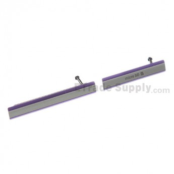 For Sony Xperia Z2 SD Card Cap Set Replacement (2 pcs/set) - Purple - Grade S+