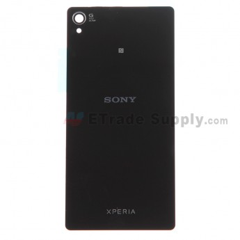 For Sony Xperia Z3 Battery Door Replacement - Black - With Logo - Grade S+
