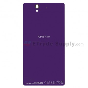 For Sony Xperia Z L36h Battery Door Replacement - Purple - With Logo - Grade R