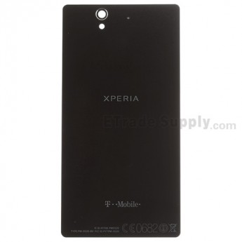 For Sony Xperia Z L36h Battery Door Replacement (Non NFC Version) - Black - With Logo - Grade S+