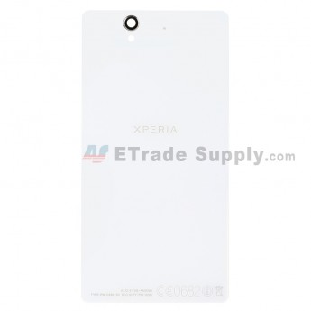 For Sony Xperia Z L36h Battery Door Replacement (Non NFC Version) - White - With Logo - Grade S+