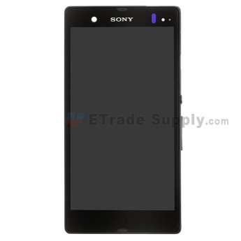 For Sony Xperia Z L36h LCD Screen and Digitizer Assembly with Front Housing Replacement - Black - With Logo - Grade S+