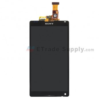 For Sony Xperia ZL L35h LCD Screen and Digitizer Assembly Replacement - Black - With Logo - Grade S+