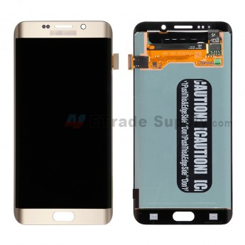 For Samsung Galaxy S6 Edge+ SM-G928/G928A/G928P/G928V/G928T/G928F/G928R LCD Screen and Digitizer Assembly Replacement - Gold - With Logo - Grade S