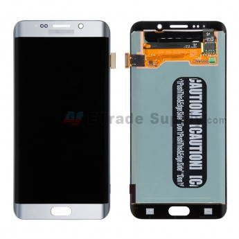 For Samsung Galaxy S6 Edge+ SM-G928/G928A/G928P/G928V/G928T/G928F/G928R LCD Screen and Digitizer Assembly Replacement - Silver - With Logo - Grade S