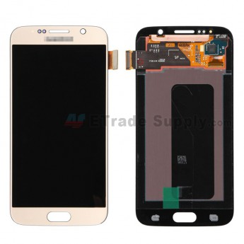 For Samsung Galaxy S6 SM-G920/G920A/G920P/G920R4/G920T/G920F/G920V LCD Screen and Digitizer Assembly Replacement - Gold - With Logo - Grade S