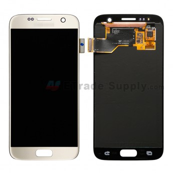 For Samsung Galaxy S7 SM-G930/G930F/G930A/G930V/G930P/G930T/G930R4/G930W8 LCD Screen and Digitizer Assembly Replacement - Gold - With Logo - Grade A