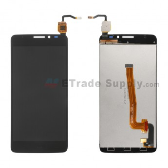 For Alactel One Touch Idol X+ OT-6043A LCD Screen and Digitizer Assembly  Replacement - Black - Without Logo - Grade R