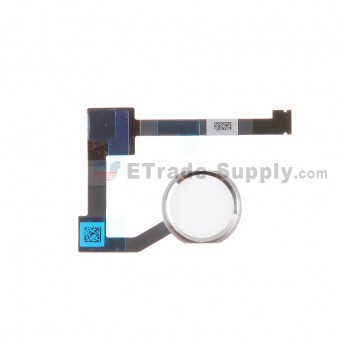 For Apple iPad Air 2 Home Button Assembly with Flex Cable Ribbon Replacement - Silver - Grade S+