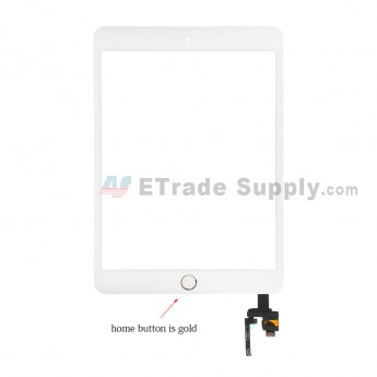 For Apple iPad Mini 3 Digitizer Touch Screen Assembly with IC Board Replacement - Gold - Grade S