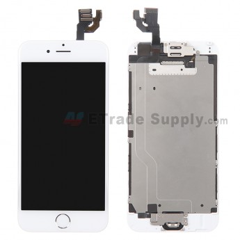For Apple iPhone 6 LCD Screen and Digitizer Assembly with Frame and Home Button Replacement - Silver - Grade A