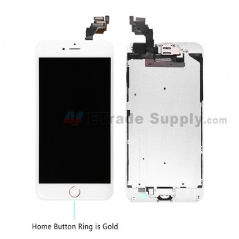 For Apple iPhone 6 Plus LCD Screen and Digitizer Assembly with Frame and Home Button Replacement - Gold - Grade S