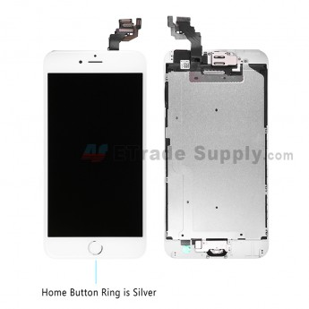 For Apple iPhone 6 Plus LCD Screen and Digitizer Assembly with Frame and Home Button Replacement - Silver - Grade S