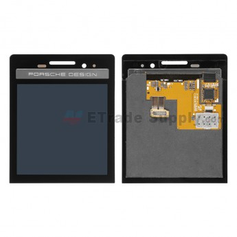 For BlackBerry Porsche Design P'9983 LCD Screen and Digitizer Assembly  Replacement - Black - Without Logo - Grade S+