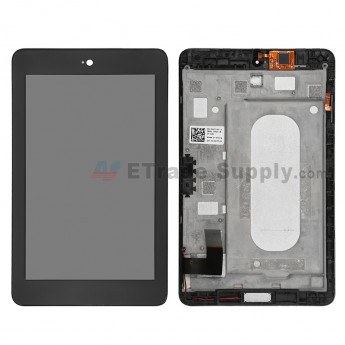 For Dell Venue 7 3730 LCD Screen and Digitizer Assembly with Front Housing Replacement - Black - Without Logo - Grade S+
