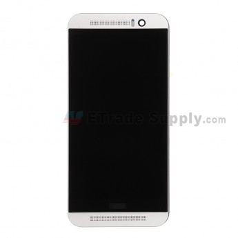 For HTC One M9 LCD Screen and Digitizer Assembly with Front Housing  Replacement - Silver - With Logo - Grade S+