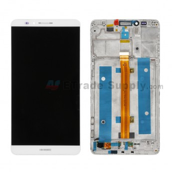For Huawei Ascend Mate7 LCD Screen and Digitizer Assembly with Front Housing Replacement - White - With Logo - Grade S+