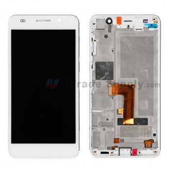 For Huawei Honor 6 LCD Screen and Digitizer Assemby with Front Housing Replacement (Single SIM) - White - Grade S+
