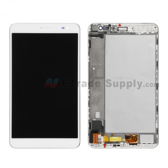 For Huawei MediaPad X1 LCD Screen and Digitizer Assembly with Front Housing Replacement - White - Without Logo - Grade S+