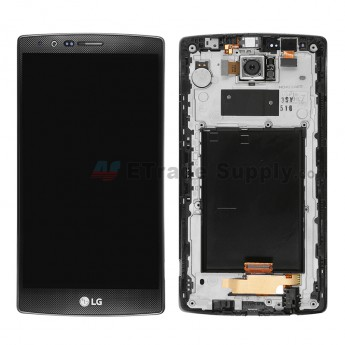 For LG G4 H815/H810/F500/H812/H811/LS991 LCD Screen and Digitizer Assembly with Front Housing  Replacement (With Small Parts) - Black - With Logo - Grad