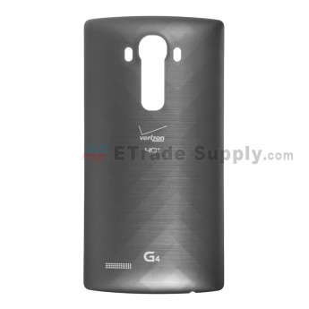 For LG G4 VS986 Battery Door  Replacement - Black - With Logo - Grade S+