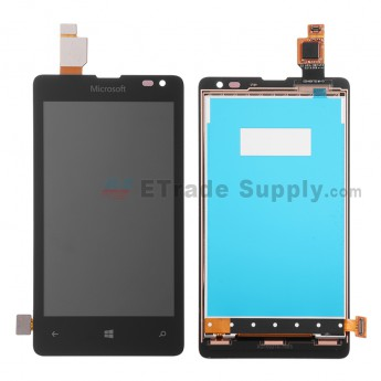 For Microsoft Lumia 435 LCD Screen and Digitizer Assembly  Replacement - Black - With Logo - Grade S+