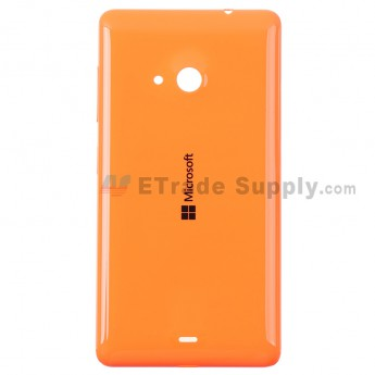 For Microsoft Lumia 535 Dual SIM Battery Door  Replacement - Orange - With Logo - Grade S+