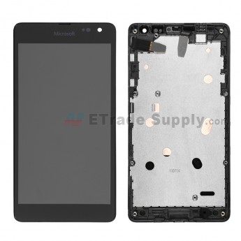 For Microsoft Lumia 535 Dual SIM LCD Screen and Digitizer Assembly with Front Housing Replacement (2C Version) - Black - Grade S+