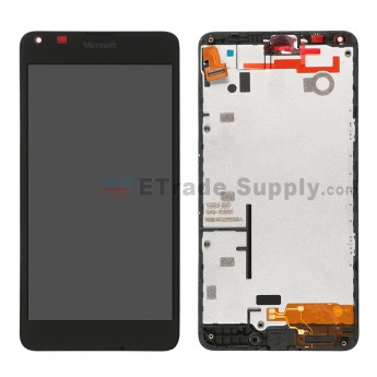 For Microsoft Lumia 640 LTE Dual SIM LCD Screen and Digitizer Assembly with Front Housing  Replacement - Black - With Logo - Grade S+