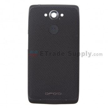 For Motorola Droid Turbo XT1254 Battery Door Replacement - Black - Without Carrier Logo - Grade S+