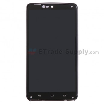 For Motorola Droid Turbo XT1254 LCD Screen and Digitizer Assembly with Front Housing Replacement - Black - Grade S+