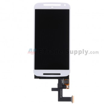 For Motorola Moto G2 LCD Screen and Digitizer Assembly  Replacement - White - Without Logo - Grade R