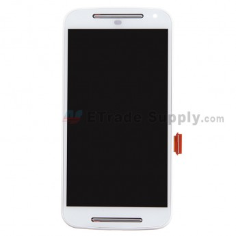 For Motorola Moto G2 LCD Screen and Digitizer Assembly with Front Housing  Replacement - White - Without Logo - Grade S+