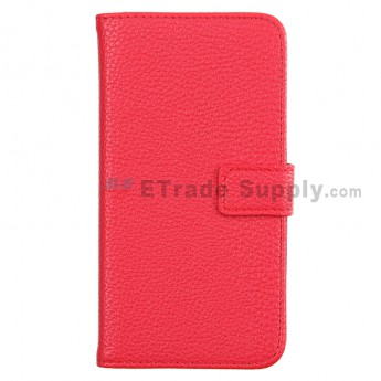 For Motorola Moto G XT1032, XT1033 Lichee Pattern Leather Case - Red - Grade R