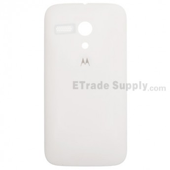 For Motorola Moto G XT1033 Frosted Battery Door Replacement - White - With Logo - Grade S+