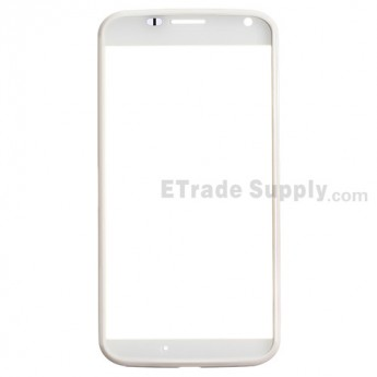 For Motorola Moto X XT1060 Front Housing with Glass Lens Replacement - White - Grade S+