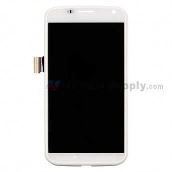 For Motorola Moto X XT1058 LCD Screen and Digitizer Assembly with Front Housing Replacement - White - Without Any Logo - Grade S+