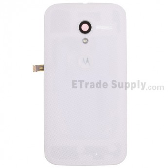 For Motorola Moto X XT1058 Woven Battery Door Replacement - White - With Logo - Grade S+