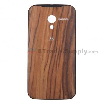 For Motorola Moto X XT1058, XT1060 Walnut-Finish Battery Door Replacement - Black - With Logo - Grade S+