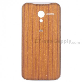 For Motorola Moto X XT1058 Teak Finish Battery Door Replacement - White - With Logo - Grade S+