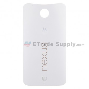 For Motorola Nexus 6 Battery Door Replacement - White - With Logo - Grade S+